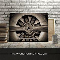 Airplane Propeller //  Oversized Canvas, Large Wall Art, Home Decor, Modern Art, Decoration, Aviation, Aviator Plane, Propeller