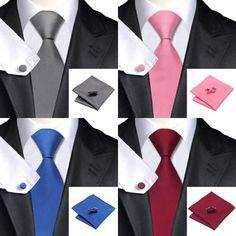 New Fashion Men Classic Solid Plain Fine Square Cufflinks Tie Woven Skinny Silk Blend Suits Ties Necktie Men Tie Set, Genel Fashion Brand, New Fashion, Fashion Outfits, Vogue, Cufflink Set, Business Casual Outfits, Suit And Tie, Skinny, Pocket Squares