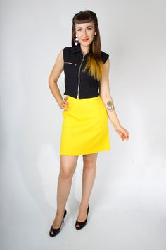Vintage 60s Bright Yellow Mod High Waist A-Line Skirt // 1960s Cotton Wool Woven Bold Neon Lemon Citrus Mini Skirt (M) | Birthday Life Vintage on Etsy | $24.00