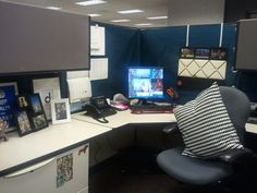 use curtains to cover up the ugly beige color........Cardigan Junkie: DIY Cubicle Makeover
