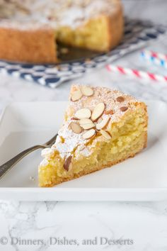 Almond Cake - Dinners, Dishes, and Desserts-Almond Cake - a super moist and delicious almond flavored cake, topped with sliced almonds and powdered sugar. A decadent cake that will please everyone! Almond Recipes, Baking Recipes, Cake Recipes, Dessert Recipes, Gf Recipes, Healthy Recipes, Cake Thermomix, Just Desserts, Delicious Desserts