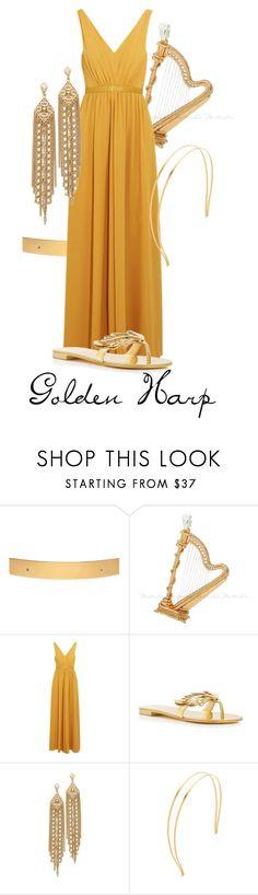 """Golden Harp"" by samosaurus2014 ❤ liked on Polyvore featuring HAIR DESIGNACCESS, Saloni, Giuseppe Zanotti, Capwell + Co and Mrs. President & Co."