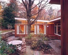 Massachusetts 1950's Mid-Century Modern wood&stone home. Midcentury Courtyard design.....Lexington Residence by Hickox Williams Architects