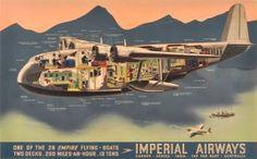 Imperial Airways Flying Boat, 1937 - original vintage poster listed on AntikBar.co.uk