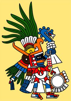 Huitzilopochtli: 'Hummingbird of the South', central [war] deity of the Mexica. Associated with the Sun and Fire. Huitzilopochtli is a warrior, armed the with the ferocious xiuhcoatl (Fire Snake). Sometimes identified as the Blue Tezcatlipoca.