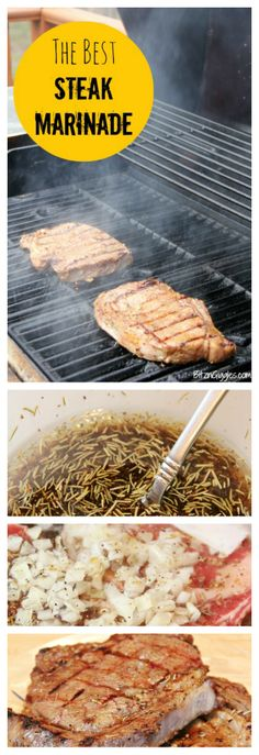 The Best Steak Marinade! So easy to put together - in hours the steak soaks up all of the liquid and the result is a delicious, tender piece of meat! Grilling Recipes, Meat Recipes, Cooking Recipes, Cooking Time, Steak Marinade Best, Best Steak, I Love Food, Good Food, Yummy Food