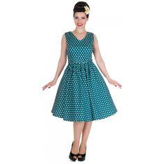 Wendy Polka Dot Rockabilly Swing Dress in Teal - £34.99 - www.dollyanddotty.co.uk