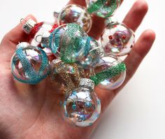Vintage-Style Glittered Ornaments (Glass or Plastic Ornaments, Mod Podge, Paint Brush + Glitter!)