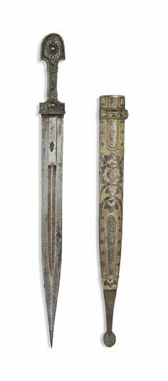A NIELLOED SILVER-MOUNTED DAGGER (KINDJAL) - OTTOMAN TURKEY, 19TH CENTURY.
