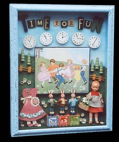 """MOre shadow boxes  Karen Silver Bloom - """"Time for Fun"""""""