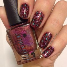 Colors by Llarowe Vamp base, Cirque Cerrillos, Cirque Xochitl,  Konad Black, Bundle Monster Plate 212. Mani-ac.com