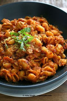 Chickpea Chorizo, Quinoa Shells in Tomato sauce. Vegan Glutenfree Pasta Recipe