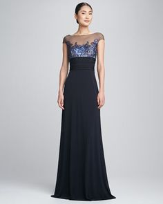 Illusion-Neck+Swan+Bodice+Gown+by+David+Meister+at+Neiman+Marcus.