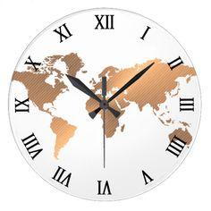 world map copper clock