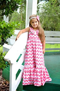 Girl Chevron Maxi Dress Emmaline Halter Dress Toddler 2 to Girls 10 Beach Dress on Etsy, $60.00