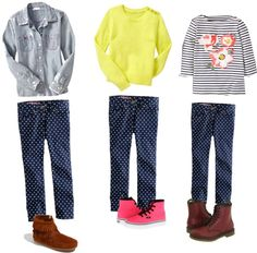 tween fashion- how to wear polka dot jeans