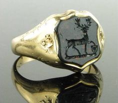 Bloodstone and gold intaglio seal ring
