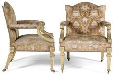 A pair of George II giltwood and upholstered open armchairs, circa 1740, the design attributed to William Kent, possibly by William Linnell
