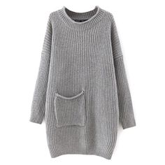 Round Neck Pocket Long Batwing Sleeve Plain Long Sweater (185 HRK) ❤ liked on Polyvore featuring tops, sweaters, round neck sweater, long sweaters, long length tops, long tops and bat sleeve sweater