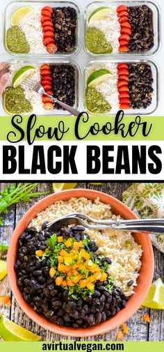 Foolproof and delicious Slow Cooker Black Beans! This easy, no-soak recipe yields tender and delicious black beans with barely any hands-on time. Make them a meal, serve as a side or stuff your tacos, burritos and quesadillas with them! This slow cooker recipe makes a great vegan dinner! Vegan Entree Recipes, Vegan Crockpot Recipes, Best Vegan Recipes, Side Recipes, Vegan Dinners, Dinner Recipes, Vegan Lunches, Vegetarian Lunch, Vegan Meal Prep