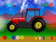 Happy Tractor, Start/Stop, Honk Horn and change colors Ipod Touch, Horn, Color Change, Tractors, Toddlers, Monster Trucks, Ipad, Iphone, Learning