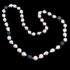 Pearl-Pave-Diamond-18K-Gold-925-Sterling-Silver-Beaded-Necklace-Jewelry-Ab