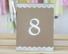 Table numbers, Wedding, Baby Shower, Party Decoration, Vintage theme, Shabby Chic theme, Kraft, Eco-friendly