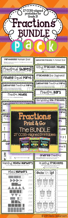 Grade 3 Fractions Pack--27 CCSS-aligned printables. ALL Grade 3 fractions standards!