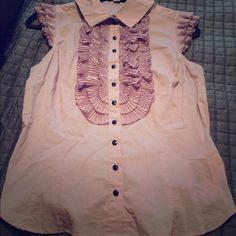 Lavender ruffle shirt Lavender shirt with black buttons and ruffle detail to the front and arms. Came with a small belt but I never wore it. Forever 21 Tops Button Down Shirts