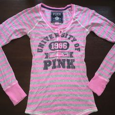 Pink and Gray PINK Sweater (Size Large) Lightweight PINK long sleeved shirt. Great condition. VERY stretchy and comfortable. (Size Large) PINK Victoria's Secret Tops Tees - Long Sleeve