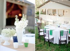 Wedding in white, blue and green.