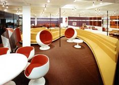 The Adelta Ball and Bubble Chair. The Ball Chair, or sometimes called the Globe Chair, was designed in 1966 by Eero Aarnio. Bubble Chair, Interior Architecture, Interior Design, Ball Chair, Round Chair, Vintage Interiors, Googie, Mid Century House, Modern House Design
