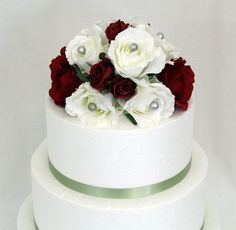 Wedding Cake Topper  Red White Rose Silk Flowers by ItTopsTheCake, $47.00