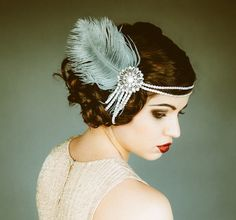 feather and pearl costume headpiece for 1920 costume party