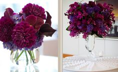 Stemz, Canada, bold elevated arrangement of plum and magenta flowers Carnation Centerpieces, Winter Wedding Centerpieces, Wedding Decorations, Table Centerpieces, Jewel Tone Wedding, Purple Wedding, Floral Wedding, Mod Wedding, Wedding Reception