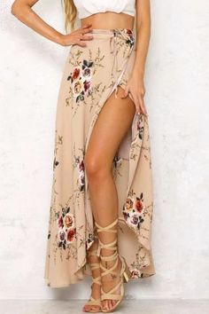 4e2d66a175 Obviously No crop top... but love the high slit skirt and with nude