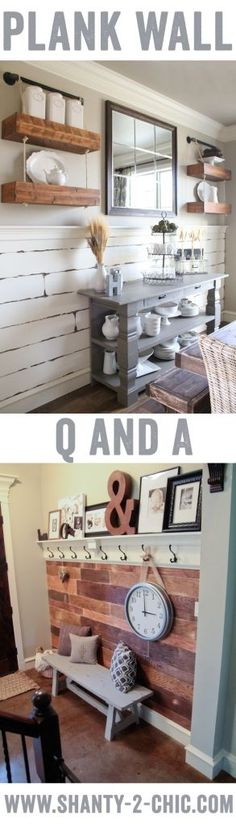 We are answering questions about installing planked walls what we do about removing baseboards and more! Grab a cup of coffee and lets chat! shiplap plank wall planked wall wall treatment feature wall accent wall - Wall Accents - Ideas of Wall Accents Wainscoting Height, Wainscoting Kitchen, Wainscoting Bedroom, Wainscoting Styles, Wainscoting Panels, Wall Shelf With Hooks, Hallway Shelf, Upstairs Hallway, Hanging Shelves