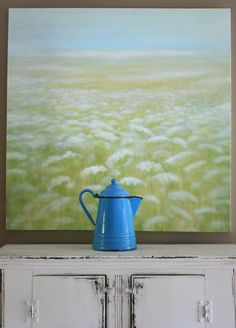 Erin's Art and Gardens   an original painting and a gorgeous blue enamel coffee pot
