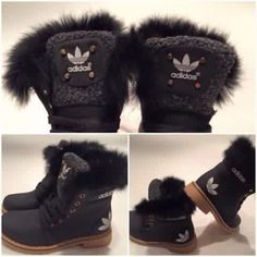shoes adidas black fur boots winter boots brown