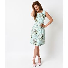 Retro Pin Up Style Mint Flamingo Print Sleeveless Stretch Flare Dress ($62) ❤ liked on Polyvore featuring dresses, mint, skater skirt, white circle skirt, a line dress, circle skirt and pin up dresses