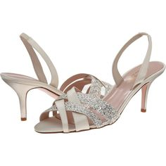 Kate Spade New York Sasha (Ivory Satin/Silver Grey Glitter) Women's... ($135) ❤ liked on Polyvore featuring shoes, sandals, silver, glitter sandals, high heeled footwear, high heel sandals, slingback sandals and slip on shoes