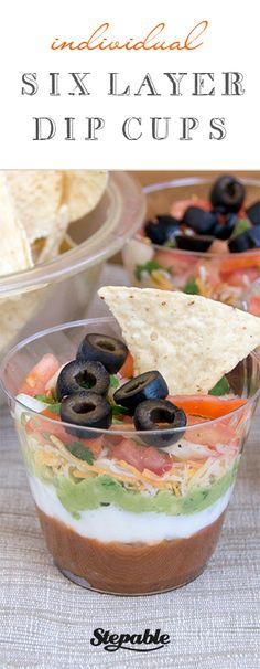 Individual Six-Layer Dip Cups Recipe ~ These Mexican-inspired individual dip cups recipe contain six delicious layers Party Snacks, Appetizers For Party, Appetizer Recipes, Tapenade, Super Bowl, Mexican Food Recipes, Mexican Dinners, Layer Dip, Chutney