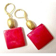 Red earrings fashion drop dangle mother of pearl mop jewelry