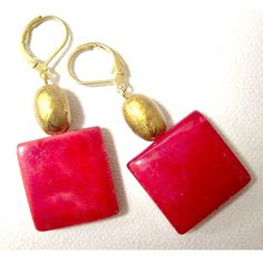 Red earrings fashion drop dangle mother of pearl mop jewelry