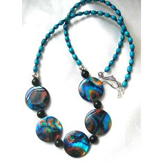 Peacock feather mother-of-pearl necklace. Turquoise/teal blue, orange,... ($30) ❤ liked on Polyvore featuring jewelry, necklaces, chunky necklace, peacock necklace, turquoise necklace, red necklace and teal necklace