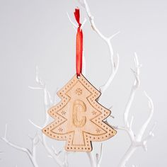 Personalised Wooden Cut Out Christmas Tree - Initial   GettingPersonal.co.uk