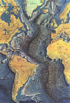 Map of the Mid-Atlantic Ridge, running from top to bottom, between the continents of North/South America and Africa