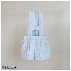 Baby Boy Shorts Overalls  Striped Light Blue by OsEstorninhos, €20.00