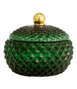 Check this out! Jar in textured glass with a lid. Size approx. 4 x 4 1/4 in. - Visit hm.com to see more.