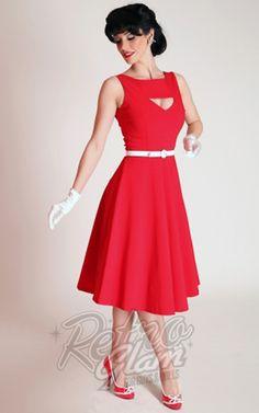 Retro Glam - Bettie Page Red Megan Swing Dress